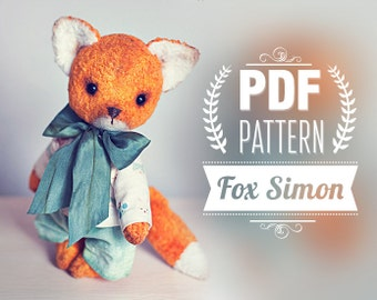 Artist Teddy Bear Fox Pattern - digital pattern - teddy bear Fox epattern 7 inches+ clothes. Instant Download