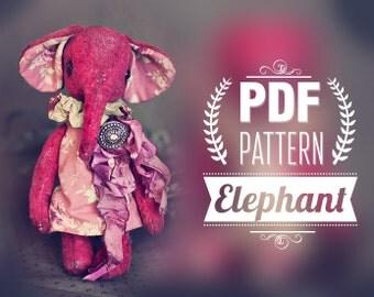 Download PDF Pattern. Elephant. 8inch, Digital Download Artist Teddy Bears