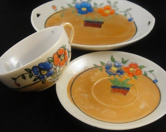 Lustreware Cup, Saucer and Tray Japan