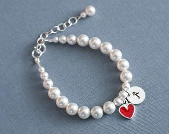 Child Personalized Bracelet, Flower Girl Bracelet,  Initial Charm Bracelet, Flower Girl Gift, Kids Pearl Bracelet, Wedding Jewelry