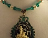 Green Crystals and Pearls Cameo Necklace
