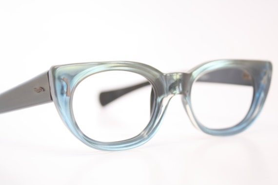 Small Frame Cateye Glasses : Green Small cat eye glasses vintage cateye frames eyeglasses
