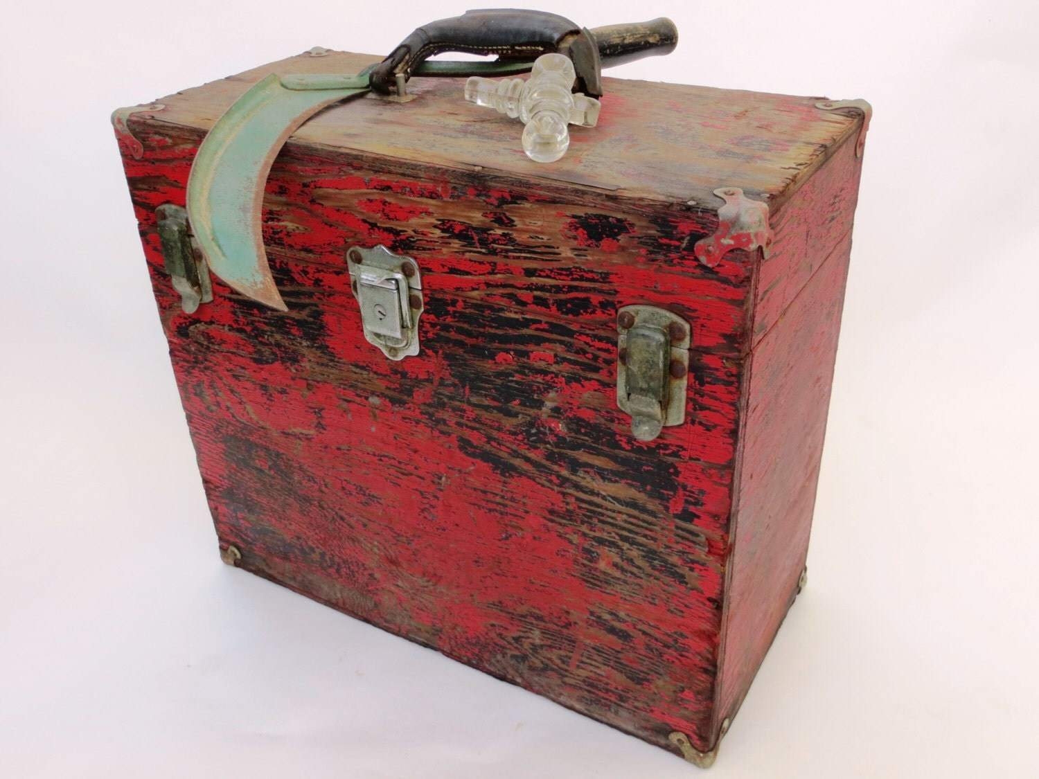 Large vintage red wooden toolbox fishing tackle box sewing for Large tackle boxes for fishing