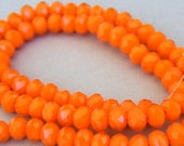 6mm carrot orange beads, Chinese crystal rondelles, Qty 40