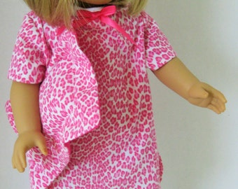 Pink Leopard Print Nightgown, Pillow, Furry Slippers (SL3A)