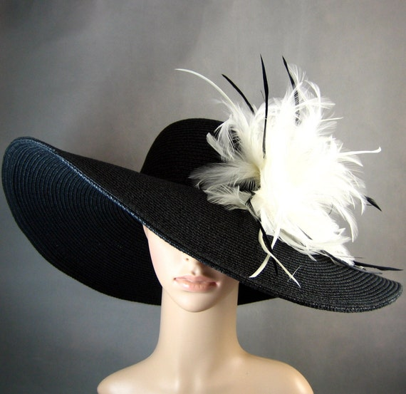 Derby Hat Kentucky Derby Hat Dress Hat Church Hat BLACK Hat Wide Brim Wedding Tea Party Ascot Horse Race