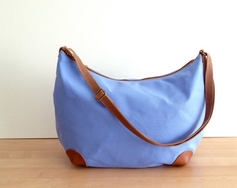 "Crossbody Bag ""round-the-world"" -- Cornflower Blue Water Resistant Canvas"