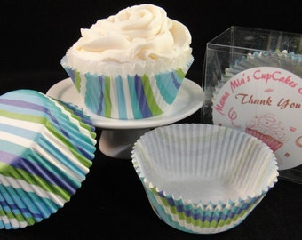Blue and Green Striped Cupcake Liners