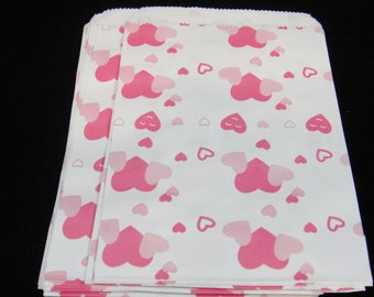 Small Pink Heart Favor Bags, Candy Bags, Bakery Bags, Paper Bags, Birthday Parties,Valentine's Day Packaging, Baking Supply, Wedding, Qty 12