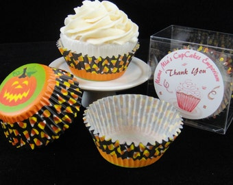 Candy Corn and Pumpkins Cupcake Liners, Halloween, Halloween Party, Kids Party, Halloween Cupcakes, Pirate Party - Quantity 25