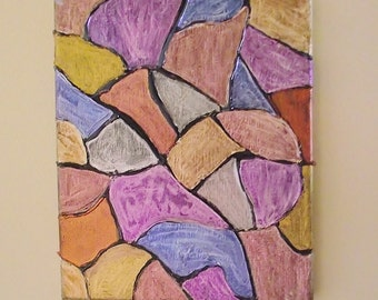 On Sale 8 x 10 STAINED GLASS PAINTING canvas copper blue gold purple bronze silver Mosaic Tile Pattern Iridescent art Original Abstract Art