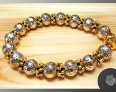"""6.75"""" Bracelet Mixed Metal Puffed Pewter Beads Gold Pewter Daisy Spacers Gold SilverMetal Beads Sturdy and Strong Gold Plated Magnetic Clasp"""