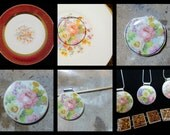 CUSTOM ORDER Recycled HEIRLOOM China Plate Jewelry - Reserved for Gretchen