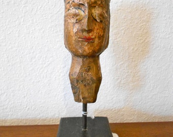 Old carved puppet head from India or Pakistan folk art