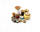 Vintage Sewing Notions, Mid Century Wood Spool Thread, Vintage Metal Sewing Machine Thread Spool