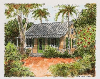"Key West Florida Cottage Architectural Art Seaside Watercolor Pen and Ink Original sfa Home Wall Decor 8"" x 6.5"" orange green"