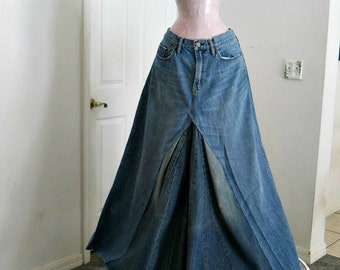 Gap 1969  bohemian ballroom jean skirt  Renaissance Denim Couture fairy goddess mermaid belle bohémienne Made to Order