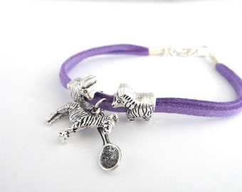 Eds Type 3 Hypermobility Awareness Bracelet 3 Zebras and 1 Spoon Charm