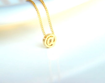 Personalised gold plated name initial charm necklace with gold plated chain, christmas, a perfect gift for her with minimalist style