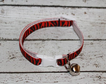 Red Tiger Stripe Cat/Kitten Collar- Adjustable/Breakaway