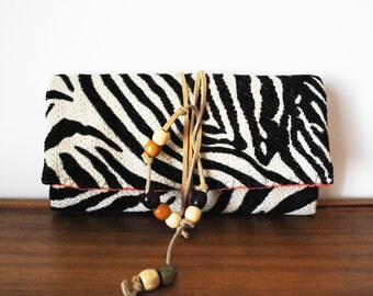 Zebra Print Trifold Clutch Wallet with Tan Leather Tie