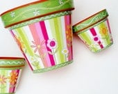 """Hand Painted Flower Pot 8 Inch """"Sherbet Stripes""""- Made to Order"""