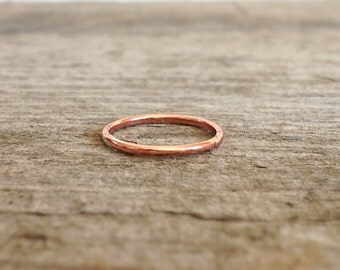 Round Copper Ring, Stacking Ring, Gift for Her, Thin Copper Ring, Copper Jewelry, Bohemian Ring, Bohemian Jewelry, Christmas Gifts