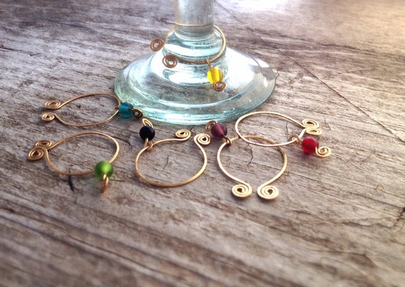 RESERVED for Alexia - Gold Wine Glass Charms Set of 6 - Beaded Wine Charms - Bohemian Decor