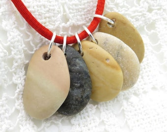 OOAK Beads- Top Drilled Beach Stones -Medium Rare Smooth Pebbles with Jumprings Organic Rock Beads for Jewelry SuppliesDIY