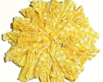 Gingham Twisted Srunchie in Yellow