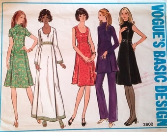 Vogue Pattern 2600 Dress, tunic top and pants size 12 Miss Petite (P170)