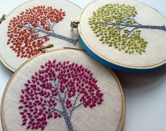Tree hand embroidered in aqua, orange, citrine green, purple, spring green or magenta - home decor hoop art by mlmxoxo