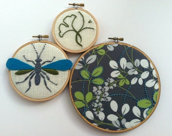 Leaves. Wasp. Ginkgo. hand embroidered. hoop art. hand embroidery. rustic. gray. green. aqua. home decor. wall art. embroidered by mlmxoxo