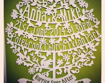 Happily ever after framed wedding papercut tree