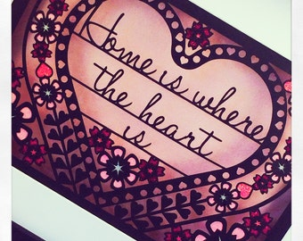 Home is where the heart is framed paper cut