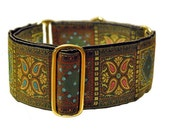 Olive Squares Jacquard Martingale Collar - 2 Inch