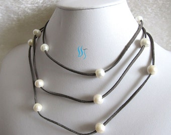 Pearl Necklace -51 Inches 10-11mm White Freshwater Pearl Dray Gray Suede Rope Necklace Jewelry- Free shipping
