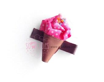 Icecream Strawberry Cone Ribbon sculpture hair clip / girl hair clip / barrette.