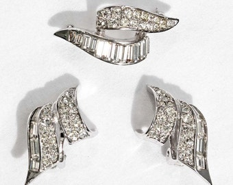 Vintage MARCEL BOUCHER Crystal Rhinestone Brooch and Clip-On Earring Demi - Inventory #6245