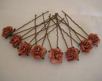Brown Rose Hair pins x 8 Chocolate. Wedding