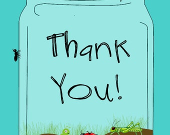 BUGS IN A JAR Boy Party/Baby Shower Thank You - 4x6 - Instant Downloand - Digital File