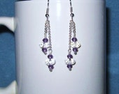 Amethyst & Clear Quartz Crystal Chandelier Pendant Style Earrings Handmade Wire Wrapped Amethyst Quartz Crystal Faceted Clear Quartz Crystal