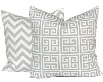 Pillows, Throw Pillows, Gray Pillow Covers, Decorative Throw Pillow Covers Storm Gray Greek Key Towers Premier Prints