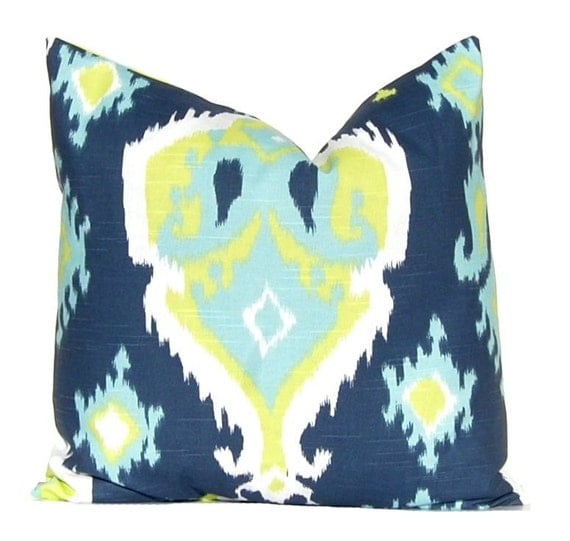 Navy Blue And Green Throw Pillows : Navy Blue and Lime Green Pillow Covers Throw Pillow Covers