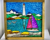 Freestanding Nautical Glass Painting Table Top Home Decor Coffee Table End Table Shelf Decor