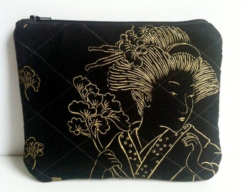 Leather Clutch Purse, Asian Fabric, Zippered Pouch,  Cosmetic Case, Make up Bag