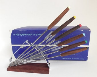 6 Mid Century Rosewood Fondue Forks in Stand, Circa 1960s