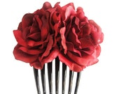 Silk Red Rose Flower Hair Comb Wedding Bridal Choose color