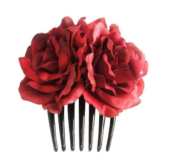 Silk Red Rose Flower Hair Comb Wedding Bridal Choose color
