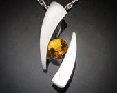 citrine necklace, November birthstone, statement necklace, bold jewelry, silver necklace, Argentium silver, fine jewelry, artisan - 3489